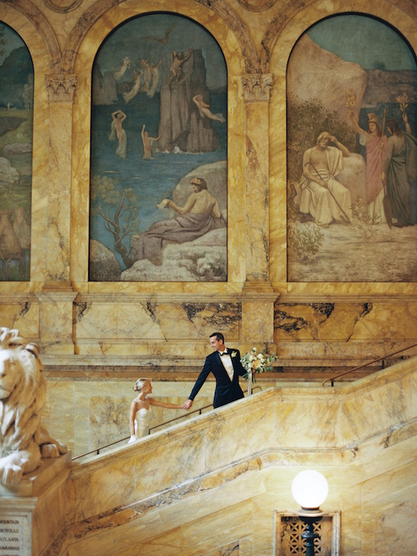 Boston Public Library BPL Black Tie Wedding Classic Elegant Martha Stewart Weddings